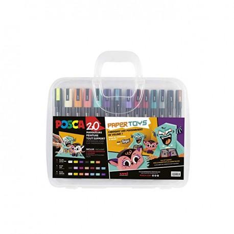 Mallette Posca Paper Toys, 20 marqueurs assortis