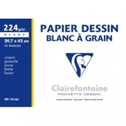 Pochettes papier dessin à grain Clairefontaine 224g/m²