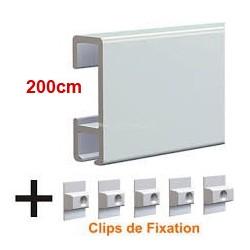 Cimaises Click Rail x200cm + 5 clips de fixations