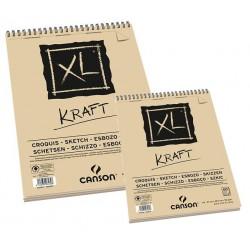 Bloc papier XL Kraft 90g/m² à feuilles spiralées