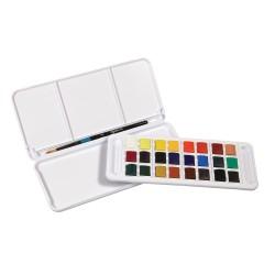 Boîtes aquarelle Aquafine 1/2 godets + pinceau