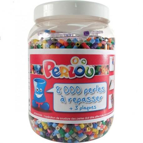 Baril 8000 perles à repasser Perlou + 3 plaques et feuille à repasser