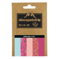 Pochette 5 papiers Décopatch Pocket n°21, feuilles 30x40cm assorties