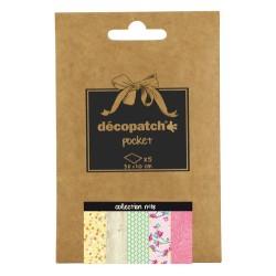 Pochette 5 papiers Décopatch Pocket n°18, feuilles 30x40cm assorties