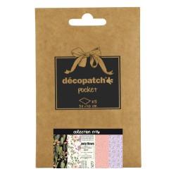 Pochette 5 papiers Décopatch Pocket n°16, feuilles 30x40cm assorties
