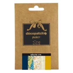 Pochette 5 papiers Décopatch Pocket n°15, feuilles 30x40cm assorties