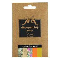 Pochette 5 papiers Décopatch Pocket n°10, feuilles 30x40cm assorties