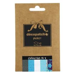 Pochette 5 papiers Décopatch Pocket n°8, feuilles 30x40cm assorties