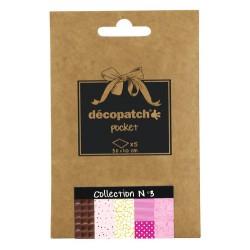 Pochette 5 papiers Décopatch Pocket n°3, feuilles 30x40cm assorties