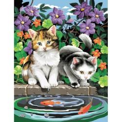 Peinture par numéros 25x30cm - Chats et poissons