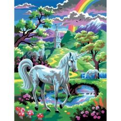 Peinture par numéros 25x30cm - Licorne au pays des fées