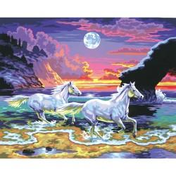 Peinture par numéros 30x40cm - Galop au coucher de soleil