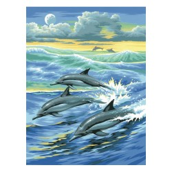 Peinture par numéros 25x30cm - Dauphins