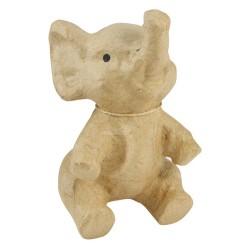 Eléphant assis en papier maché - 11x10x17 cm
