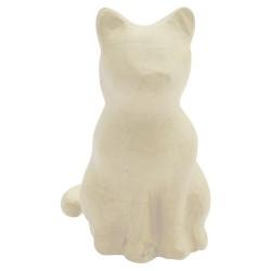 Chat assis en papier maché - 13x9,5x15 cm