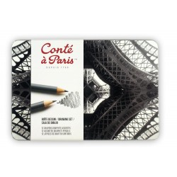 Boîte métal Dessin 12 crayons graphite Conté à Paris
