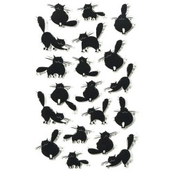 Stickers 3D Halloween - Gros chats noirs x19 autocollants