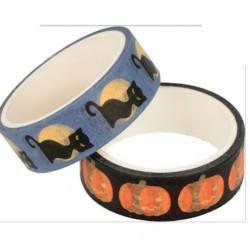 Masking Tape Halloween 5x15mm x2pcs - Citrouille et Chat