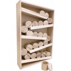 Calendrier de l'Avent en bois 28x8x45cm avec 24 boîtes rondes de ø4,8x5cm