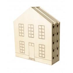 Calendrier de l'Avent en bois - Maison 35x11,5x40cm