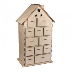 Kit en bois Maison Calendrier de l'Avent 185pcs, 25,5x17,5x45,5cm