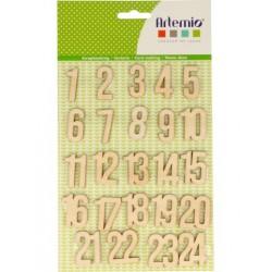 Chiffres en bois calendrier de l'Avent x24 pcs