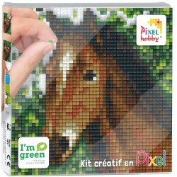 Kit Créatif Pixel tableau 12x12cm - Tête de cheval