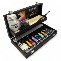 """Coffret en bois Acrylique """"Abstract"""" - 9x120ml et accessoires"""