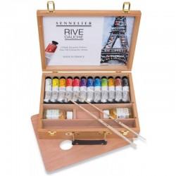 Coffret bois huile Rive Gauche Sennelier 12x40ml et accessoires