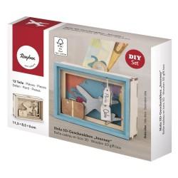 Boîte cadeau en bois 3D 115x85x50mm - Journey
