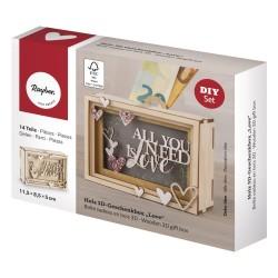 Boîte cadeau en bois 3D 115x85x50mm - Love