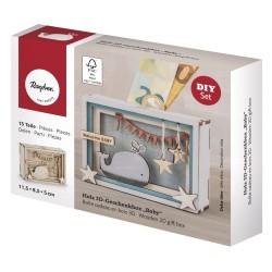 Boîte cadeau en bois 3D 115x85x50mm - Baby