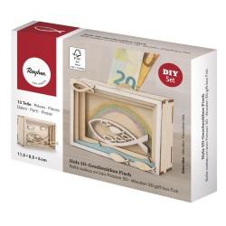 Boîte cadeau en bois 3D 115x85x50mm - Poisson