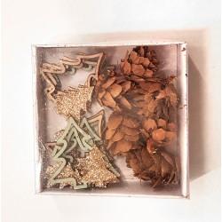 Miniatures en bois mix sapins et pommes de pin ø2-4cm x16pcs