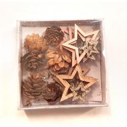 Miniatures en bois mix étoiles et pommes de pin ø2-4cm x16pcs