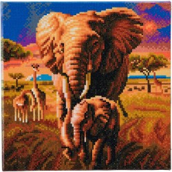 Kit tableau à diamanter Crytal Art 30x30cm - Eléphants de la savane