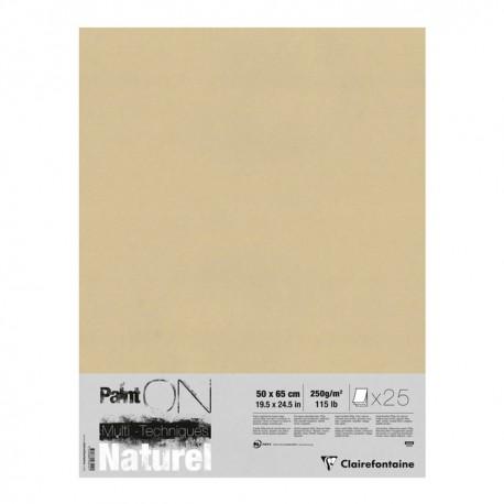 Pochette papier Paint On Naturel 250g/m², 25 feuilles 50x65 cm
