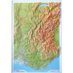 Carte en relief IGN Alpes / Vallée du Rhône - 80x113 cm