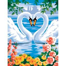 Peinture par numéros 25x30cm - Cygnes amoureux