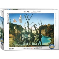 Puzzle 1000 pièces - Cygnes reflétant des éléphants de Dali