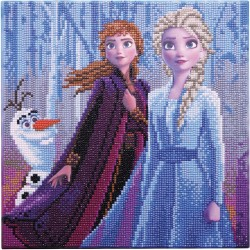Kit tableau à diamanter Crytal Art Disney 30x30cm - Elsa, Anna et Olaf