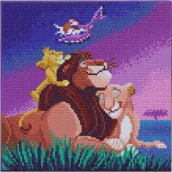 Kit tableau à diamanter Crytal Art Disney 30x30cm - La famille du roi lion