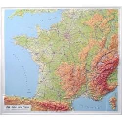 Carte en relief IGN France - 94x114 cm