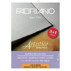 Paquet de 3+1 feuilles de papier aquarelle Artistico grain fin 300g/m², 56x76cm