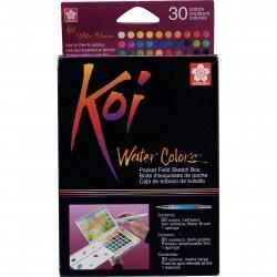 Boites d'aquarelle KOI Water Colors en demi-godets