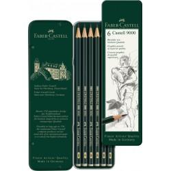 Boîte métal crayons Castell 9000 x6 pcs