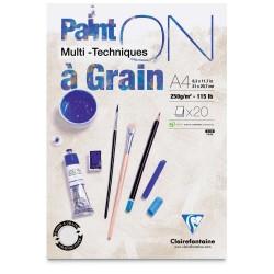Blocs multi-techniques Paint On à Grain 250g/m², 20 fls collées