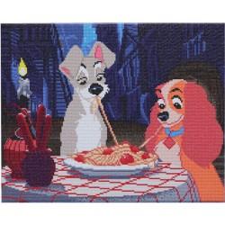 Kit tableau à diamanter Crytal Art Disney 40x50cm - La Belle et le Clochard