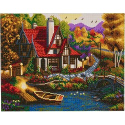 Kit tableau à diamanter Crytal Art 40x50cm - Cottage de bord de rivière