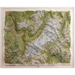 Carte en relief IGN Massif du Mont-Blanc - 94x114cm